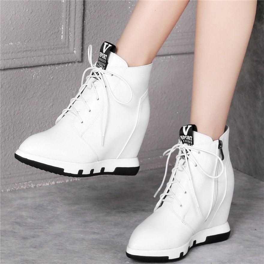 Alta de encaje de Mujeres de cuero genuino cuñas de moda de tacón zapatillas mujer punta bombas plataforma zapatos casuales zapatos