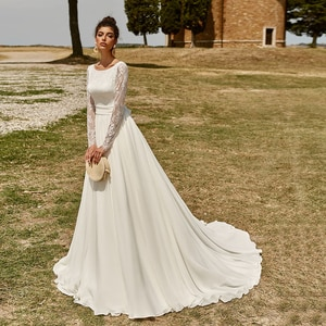 Long Sleeve Boat Neck Chiffon Wedding Dresses Boho A Line Open Back Custom Made Large Size Elegant Sash Lace Beach Bridal Gowns