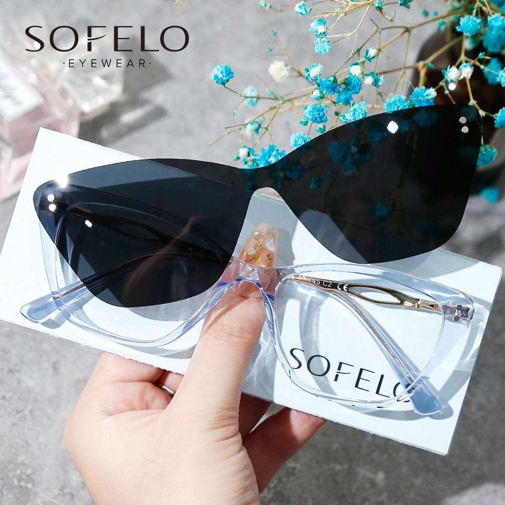 Cat Eye Magnet Clip On eyeglasses Women Myopia Progressive Glasses Ladies Optical Prescription Sungl