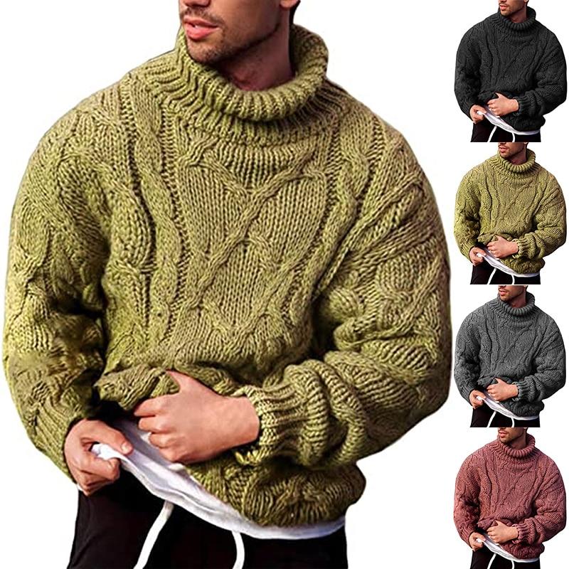 Мужской свитер, осенне-зимний теплый свитер, вязаная водолазка, мужской свитер, Мужской пуловер, джемпер, однотонная Джерси для мужчин