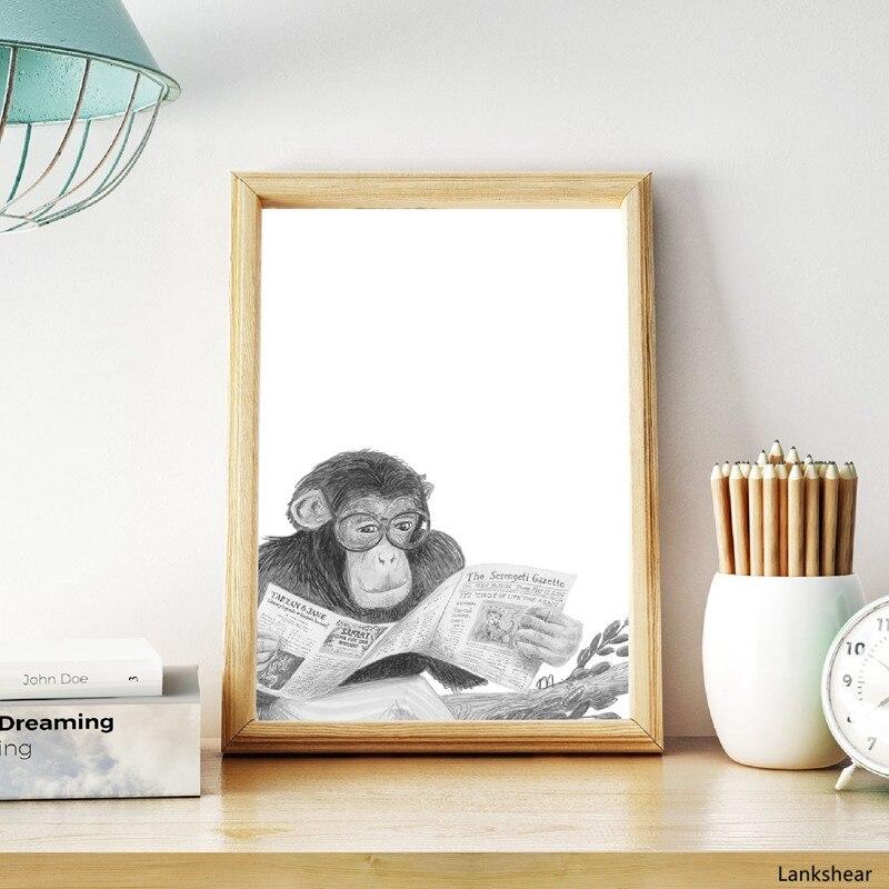 Impresión Hd nórdica divertida decoración de baño negro blanco mono Animal chimpancé lectura cartel de gafas arte de pared pinturas de lona