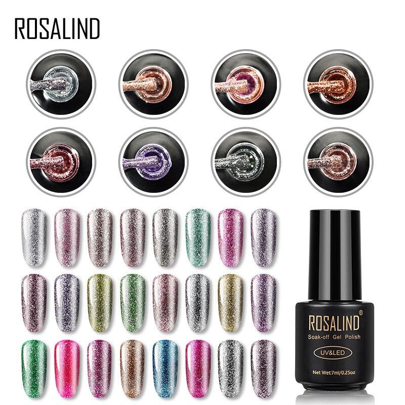 Гель-лак для ногтей ROSALIND, блестящий Платиновый лак для ногтей, УФ-покрытие, верхнее покрытие для маникюра, гибридные покрытые лаком ногти, Ге...