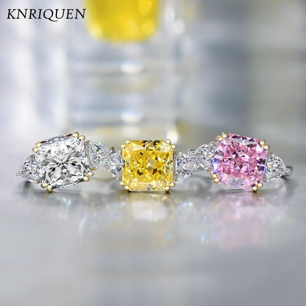 Vintage Real 925 Sterling Silver 10*10mm 11CT Moissanite Topaz Quartz Gemstone Wedding Diamond Ring for Women Fine Jewelry Gifts