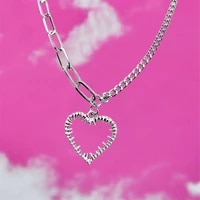 new ins hip hop punk love heart necklace retro heart barbed necklaces for women girls fashion jewelry gift