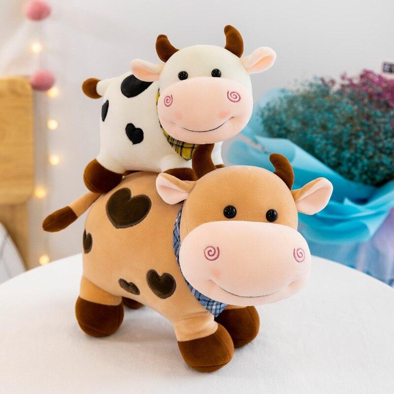 Śliczne miękkie zabawki dla dzieci zabawka do snu dla dzieci dziewczyny chłopcy prezent urodzinowy 25cm pluszaki pluszowa lalka małe mleko krowa bydło zabawki