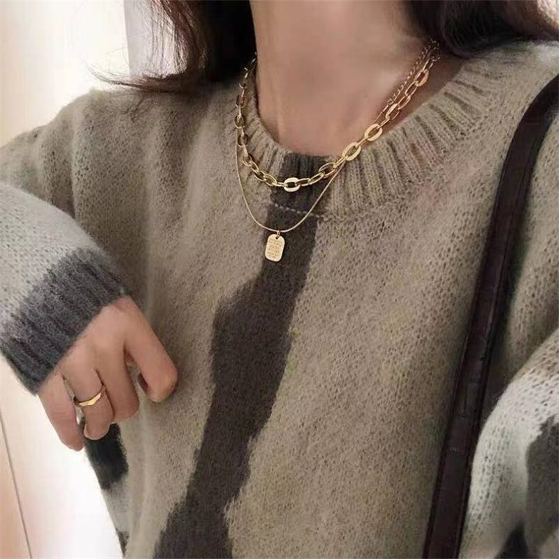 Retro chain necklace female ins cold wind sweater chain long wild stacking necklace personality hip-hop clavicle chain Wholesale korea new clavicle chain necklace lace clavicle chain necklace female collar wholesale