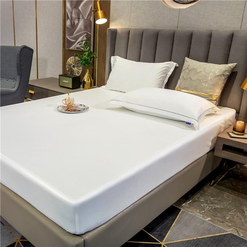 موضة الحرير الحرير المجهزة ورقة الراقية بلون غطاء مرتبة شريط مرن غطاء سرير 140x200 سنتيمتر.