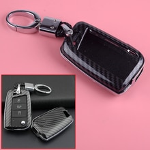 DWCX ABS Car Carbon Fiber Texture Key Fob Cover Shell Case Chain Fit for VW Golf MK7 Skoda Octavia Kodiaq Karoq