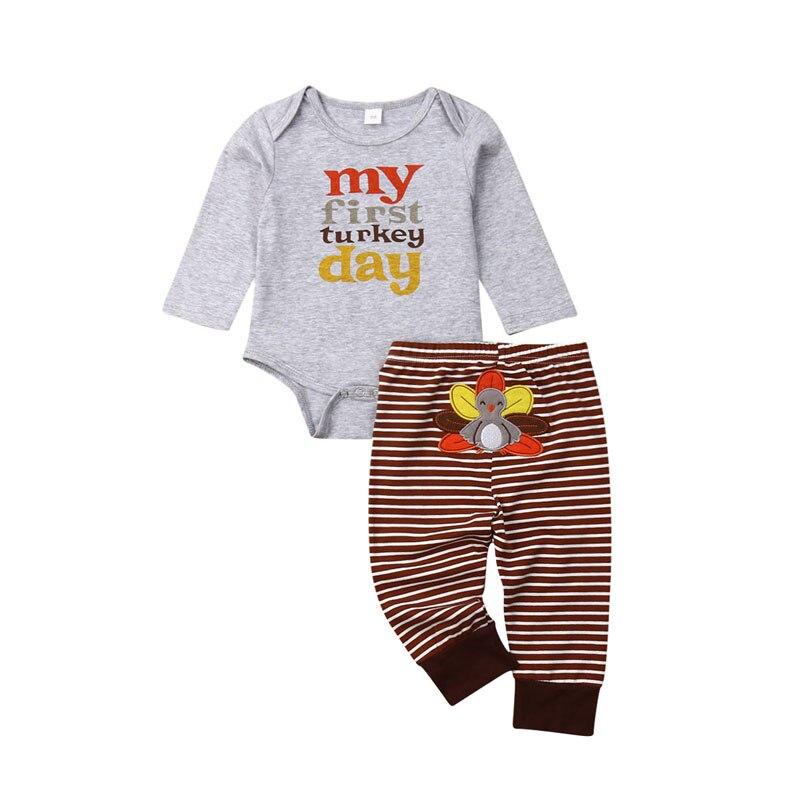 Pudcoco US Stock Acción de Gracias ropa infantil recién nacido bebé niñas Tops Romper rayado Turquía pantalones largos conjunto de ropa