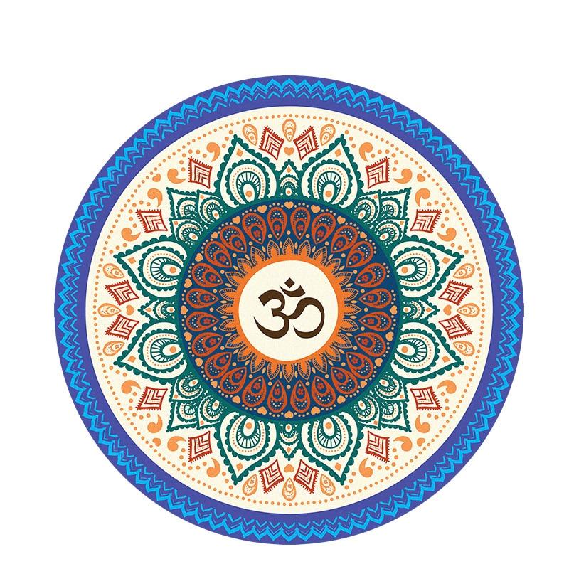 Printing Round Yoga Mat Datura Meditation Cushion Pilates Carpet Natural Rubber Velvet Floor Mat
