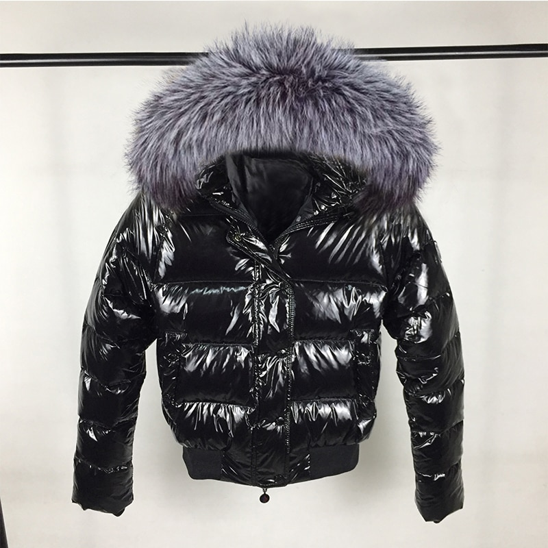 Fashion Winter Jacket Women Big Fur Hooded Down Parkas Glossy Female Jacket short Outwear Winter Waterproof Coat Woman 2020 New