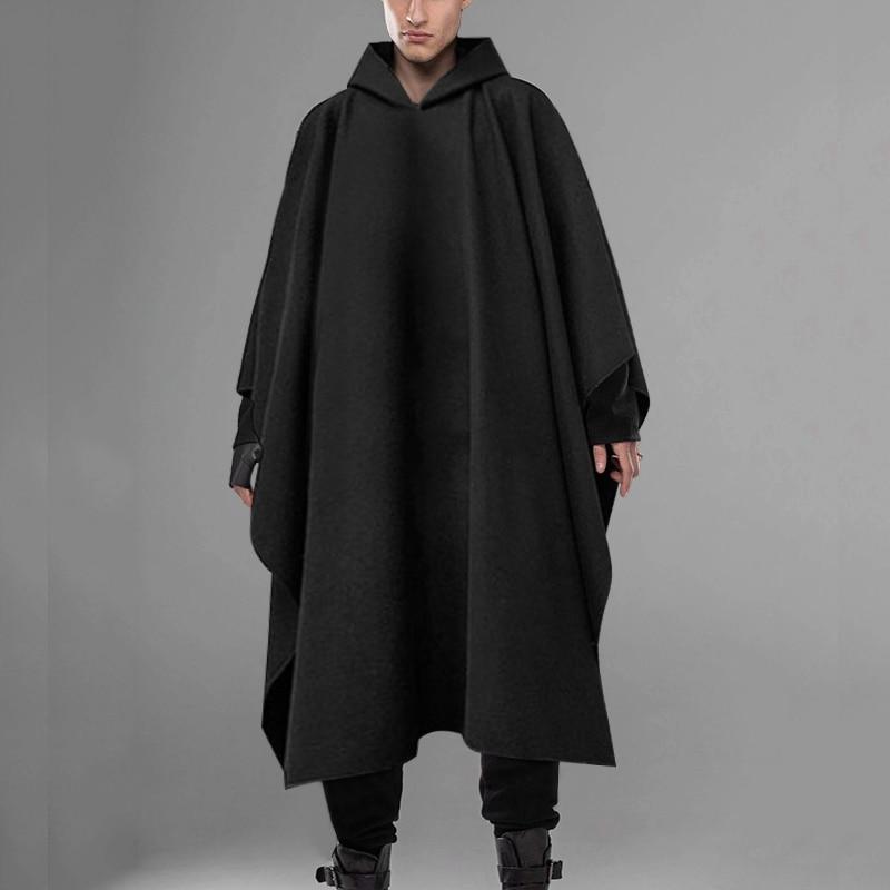 Fashion Men Cloak Coats Hooded Solid Loose 2021 Streetwear Punk Windproof Men's Trench Chic Winter L