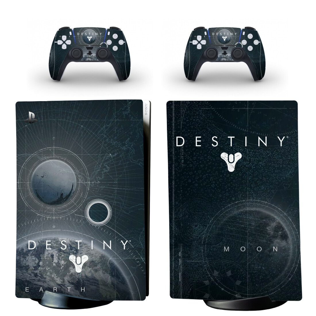 Destiny PS5 Digital Edition Skin Sticker Decal Cover for PlayStation 5 Console and 2 Controllers PS5 Skin Sticker