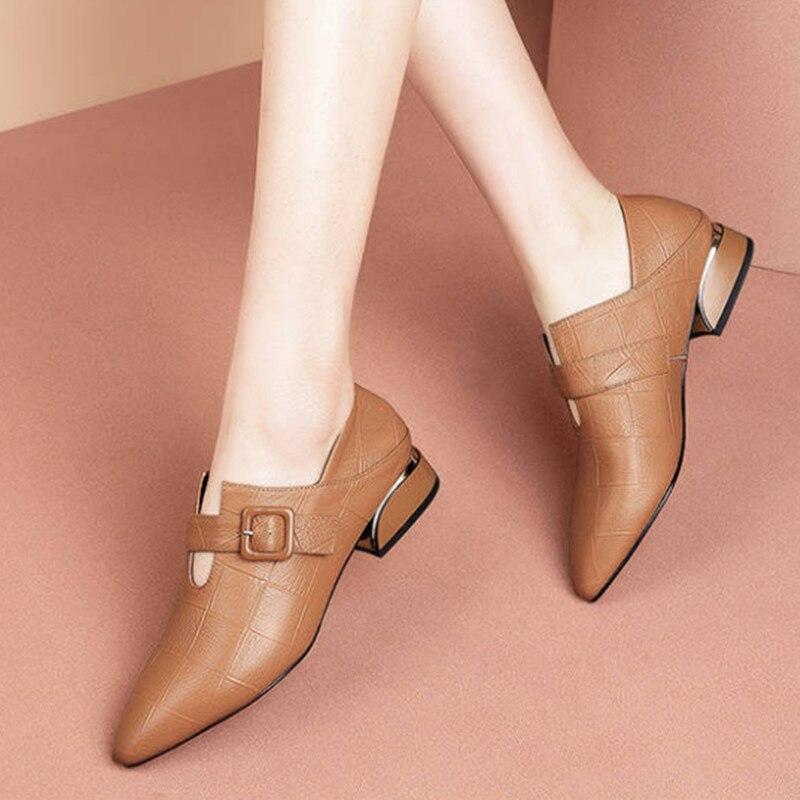 Женские туфли с острым носком Marlisasa, коричневые повседневные туфли из искусственной кожи на высоком каблуке, без застежки, лето 2019