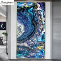 large paintings room decoration abstract blue gold waves diamond painting full square round mosaic diamond embroidery f740