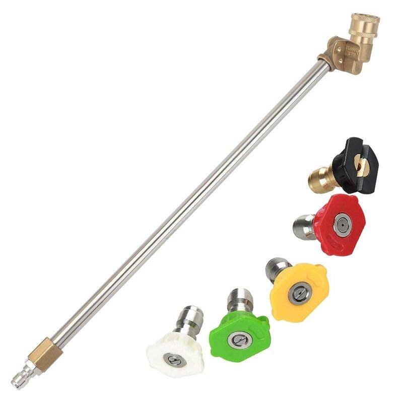 Varita de lavado a presión con boquilla de ángulo ajustable, boquilla de pulverización de 16 pulgadas 180 grados con adaptador de pivote de conexión rápida de 5 ángulos, Cou