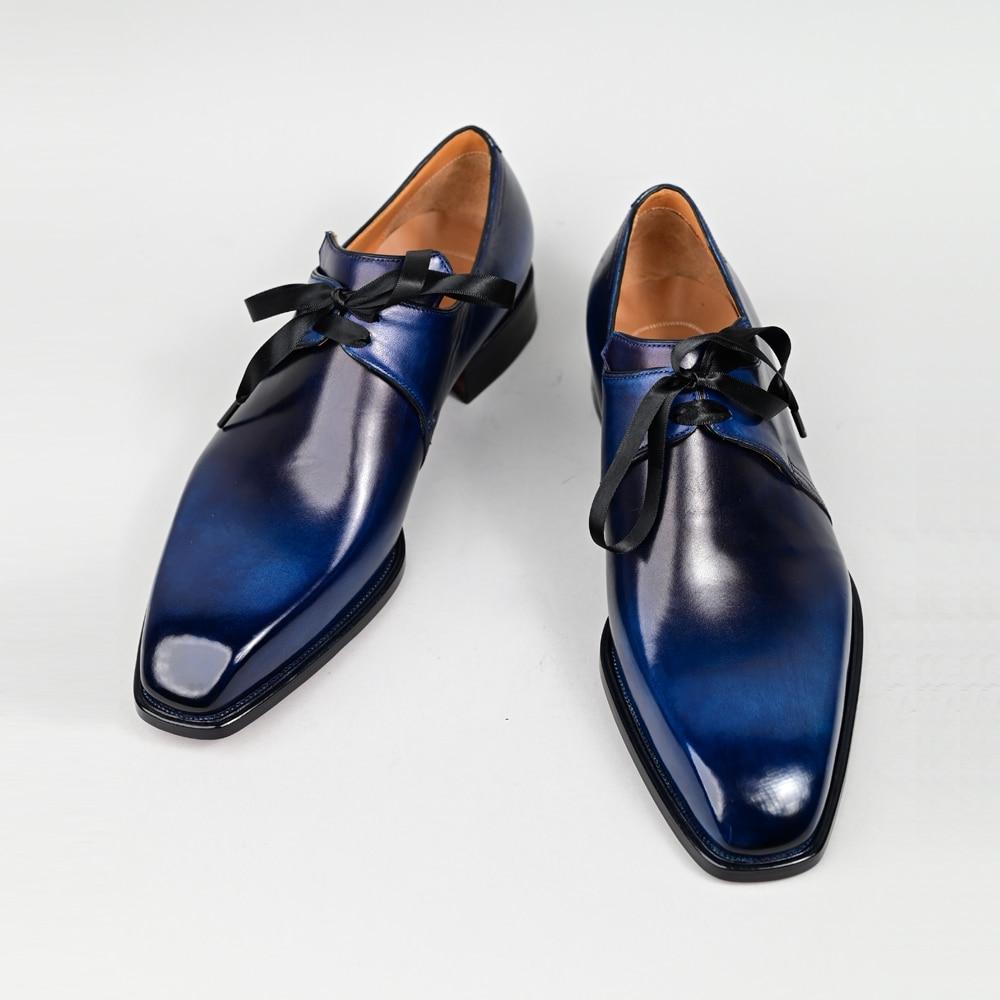 Black derby shoes men's leather crocodile pattern business office wedding high quality luxury elegant large size men's shoes