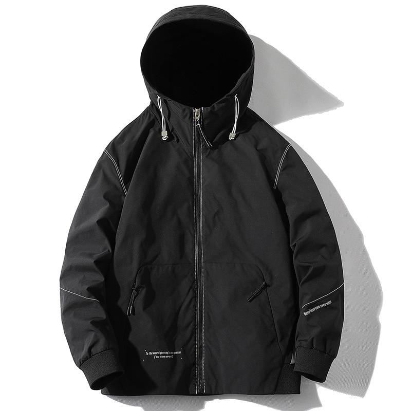Мужская однотонная куртка с капюшоном в Корейском стиле, Мужская весенне-осенняя трендовая куртка, Мужская толстовка на молнии, легкая курт...