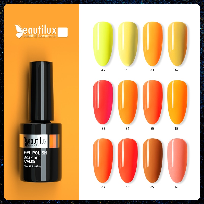 AliExpress - Beautilux Nail Gel Polish Summer Yellow Orange Color Collection Neon Nails Art Gels Varnish UV LED Nail Lacquer Supply 10ml