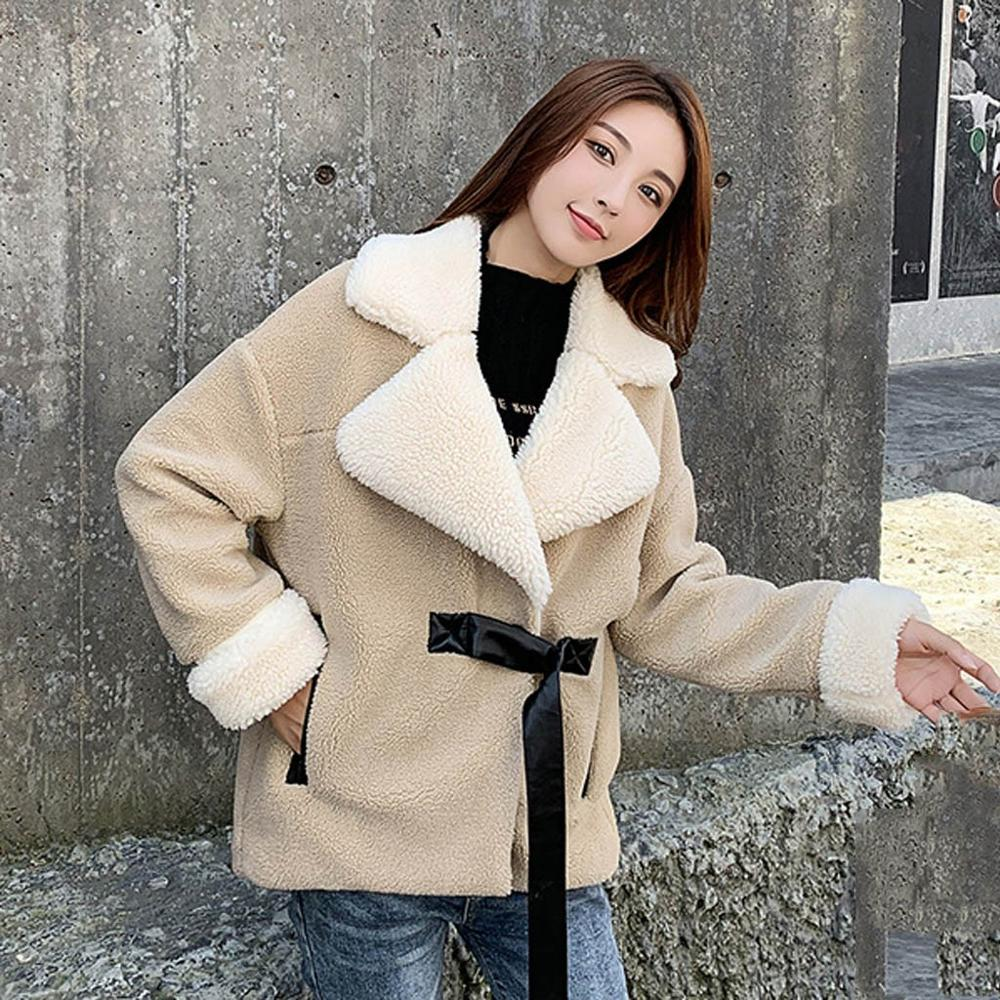 2019 solapa peluda Shaggy caqui blanco Patchwork Imitación Piel abrigo de manga larga con cinturón mujeres Turn-Down Collar chaqueta ropa de abrigo tops
