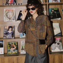CHEERART-chemisier Vintage femme, chemisier manches longues, col boutonné, vêtement de styliste imprimé ethnique