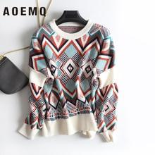 AOEMQ Winter Warm Sweater Women O-Neck Folk Punk Patchwork Irregular Pattern Sweater Women Tops Clothing for Christmas Day