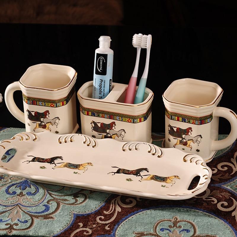 Céramique Brosse à dents Holder Salle de Bain Accessoire Cadeau