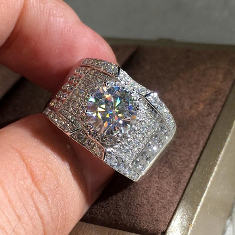 O envio da gota nova chegada impressionante luxo jóias 925 prata esterlina pavimentar branco safira cz diamante festa feminino anel de banda