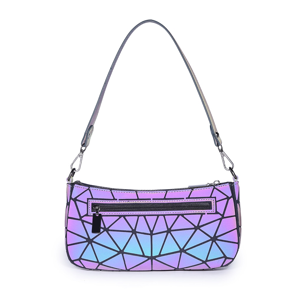 CROCROGO 2021 Hot Women's Small Geometric Luminous Reflective Shoulder Baguette Hand Bags Girl's Fas