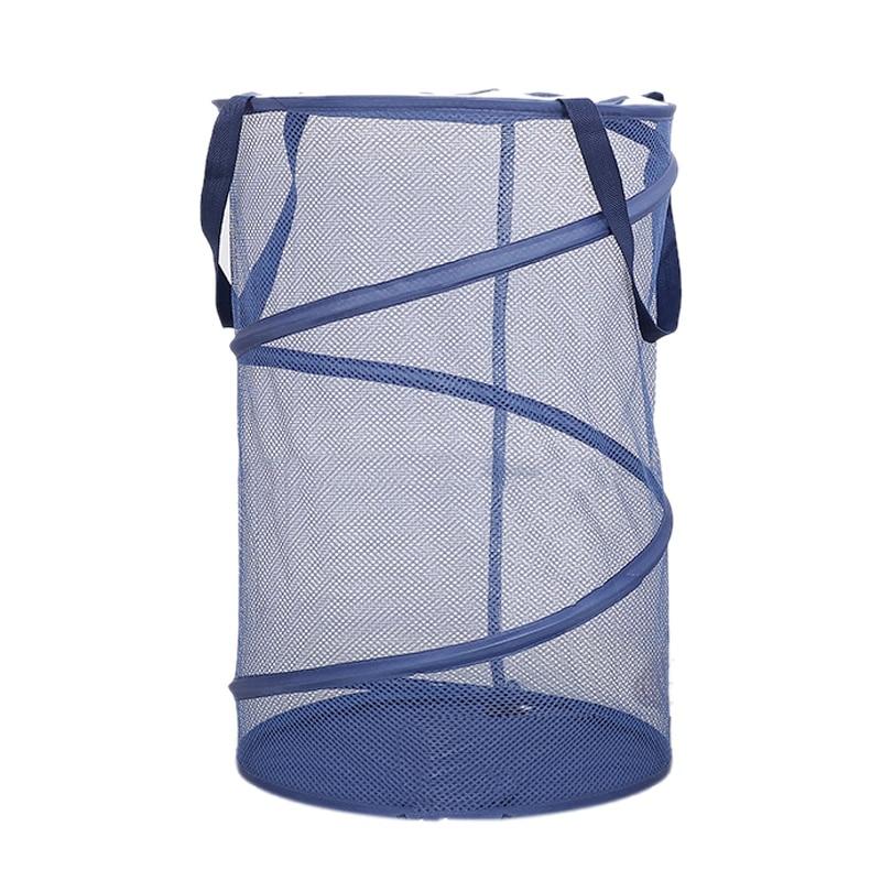 Składane siatki do prania Pop-Up Mesh z pokrywką Zip oszczędność miejsca Sorter liny kosz uchwyty do szkoły, akademiku, przedszkola, biura