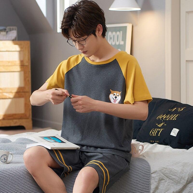 ATUENDO Лето Мода Kawaii Пижама Комплекты для мужчин 100% 25 хлопок PJS Soft Men% 27 лет одежда для сна костюм Atoff Home Satin Silk Male Nightwear
