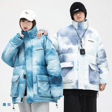 Men's Tie Dye Print Duck Down Jacket Warm Hooded Thick Puffer Couple Coat Male Casual High Quality W