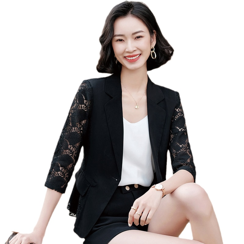 Thin Lace Suit Jacket Women's 2021 Spring and Summer Korean Style Fashionable Stylish Slim Fit Short