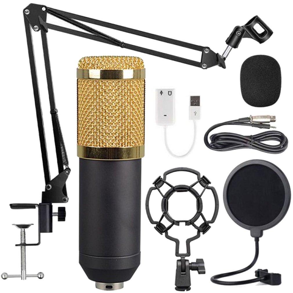 Black Gold Mesh Large Diaphragm Condenser Microphone For Recording Room KTV Condenser Microphone Kit