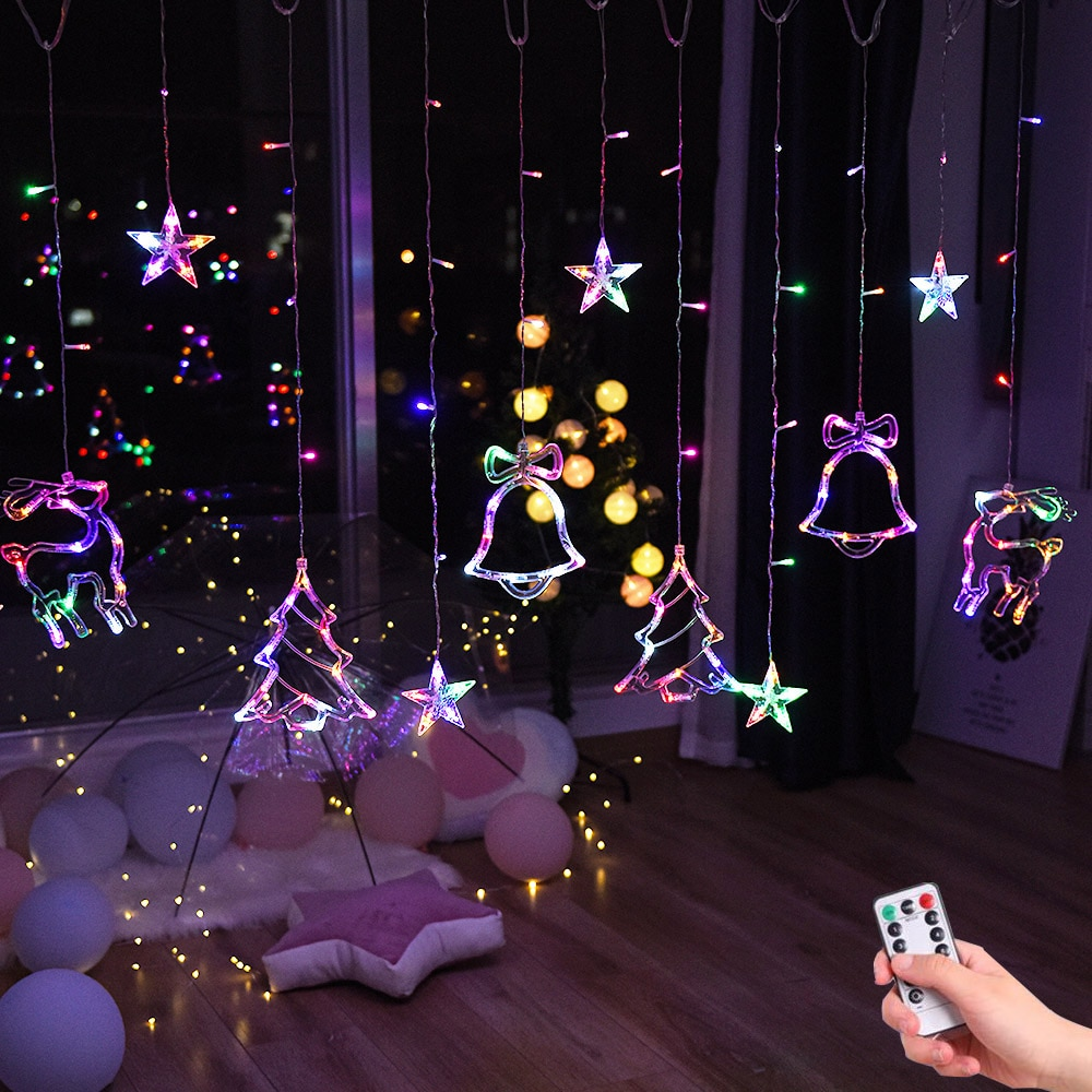Гирлянда для новогодней елки олень с колокольчиками, уличная Гирлянда для дома, свадьбы, вечеринки, новогодний декор, 220 В, 110 В