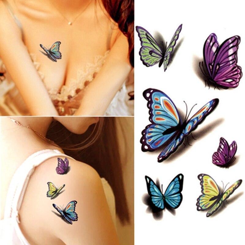 Pequeño tatuaje temporal impermeable pegatina moda mariposa flor mujer hombre niños tatuaje falso pegatinas cuerpo arte pierna brazo vientre
