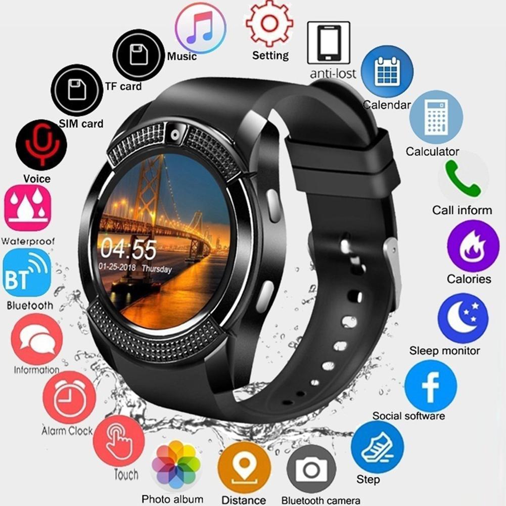 Reloj inteligente V8 Bluetooth con pantalla táctil reloj de pulsera con ranura para tarjeta SIM para cámara reloj deportivo resistente al agua para Android