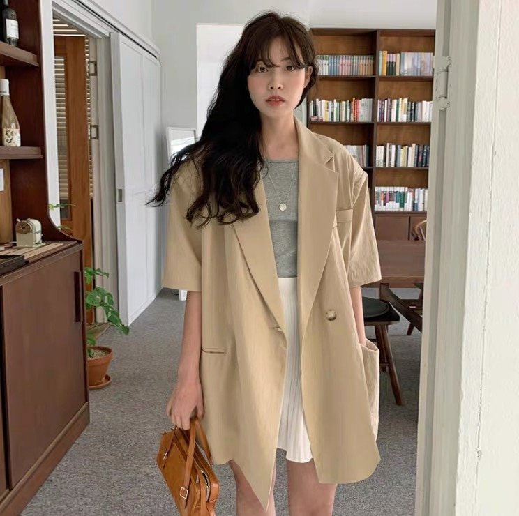 CMAZ 2021 Summer Office Lady Solid Sweater Tops Casual Jacket Chic Tops Korean Style Fashion Women C