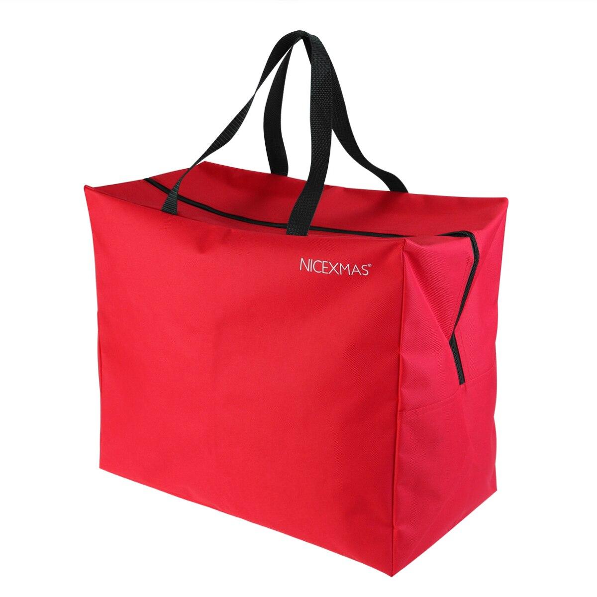 Красная Праздничная сумка для хранения рождественской елки, вместительная сумка на молнии для искусственной елки с ручками