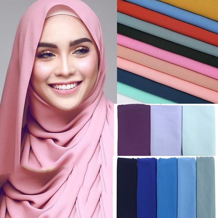 1 pc popular Malasia estilo simple burbuja de gasa pañuelo hijab abrigo chales colores sólidos diadema musulmán hijab bufandas bufanda