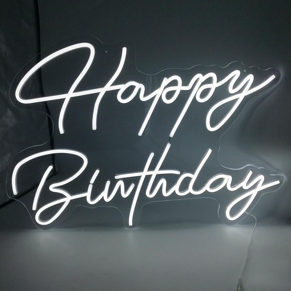 Neon Light Sign Custom Happy Birthday Lamp Illuminate Party Wall Art Letter Logo Design Home Bar LED Light Personalized Signs De