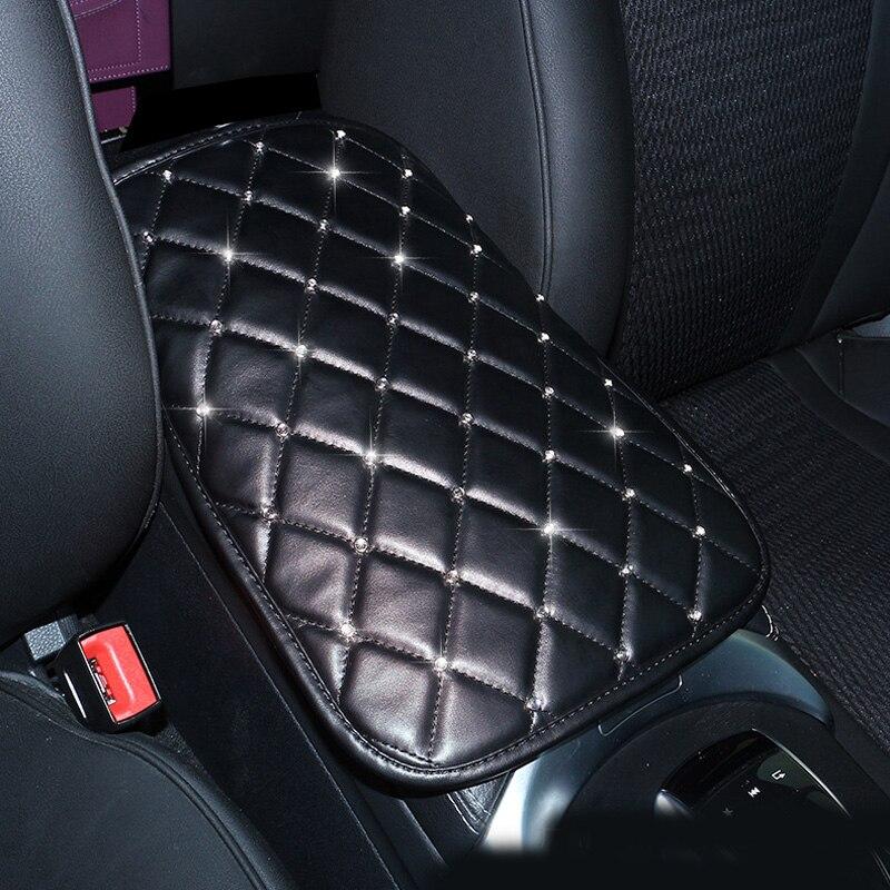 Strass cristal couro do plutônio carro apoio de braços capa almofada universal console central braço resto assento caixa almofada protetor preto