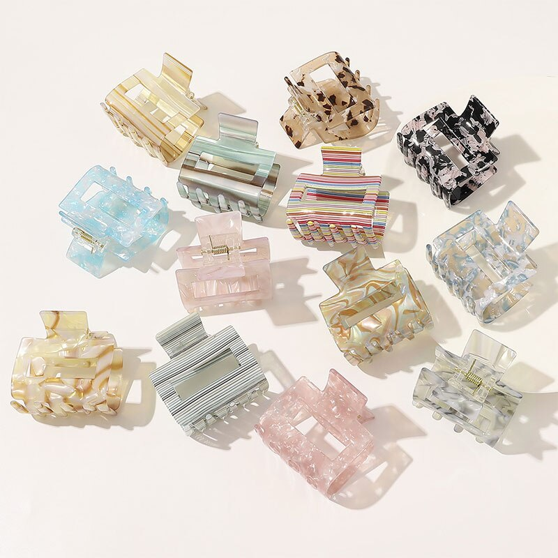 2021 Fashion Acetic Acid Hair Claws Hairpin Square Acrylic Hair Clamps Crab Geometric Multiple Colorful Hair Clips Accessories
