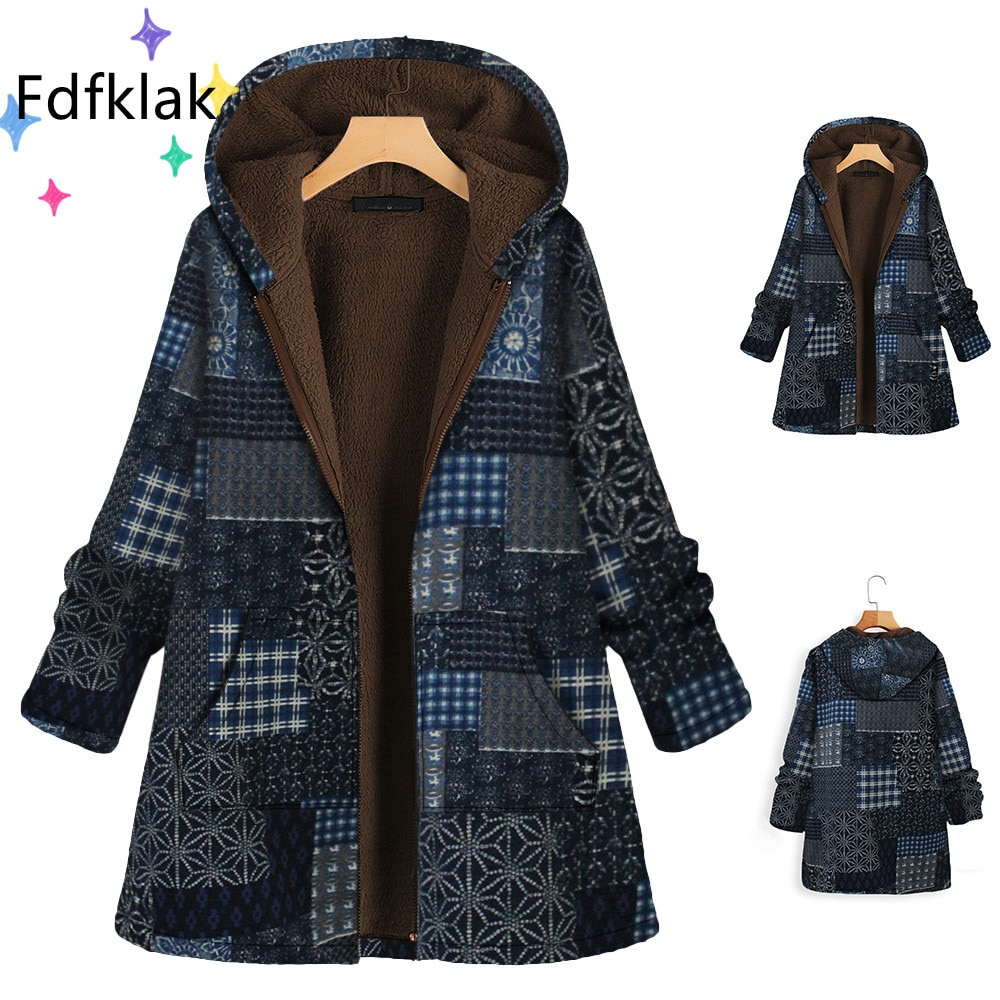 Fdfklak 5XL مزاجه ركاب رشاقته جاكيت زيبرا المرأة الكورية الموضة المعتاد المطبوعة الروسية الشتاء معاطف Manteau فام