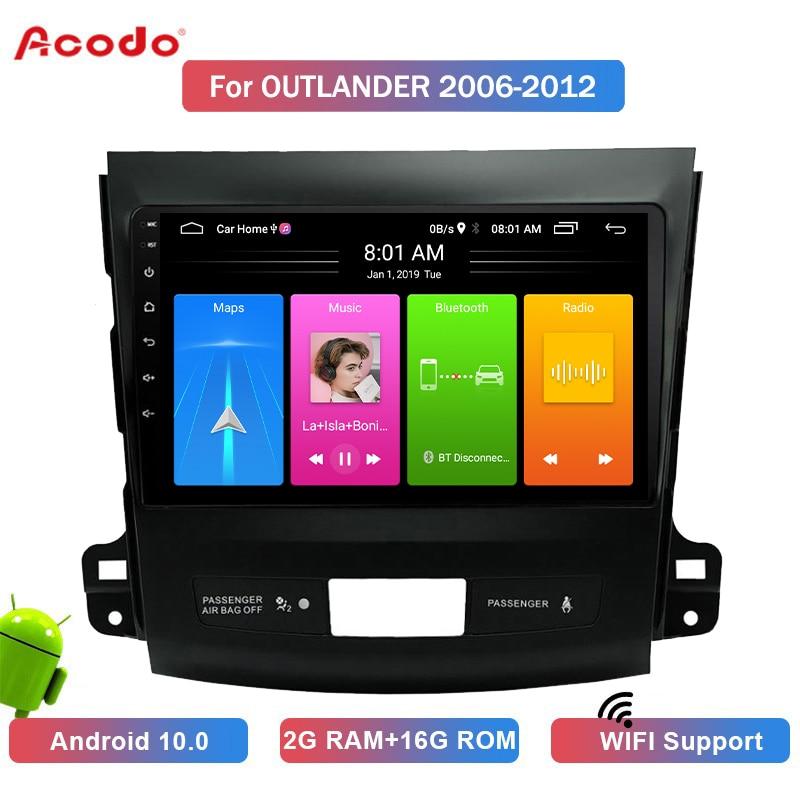 Автомобильный мультимедийный плеер ACODO 2 + 16G Android 10,0 для Mitsubishi Outlander 2006-2012 GPS-навигация 2 din