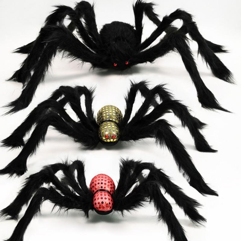 Araña de peluche Artificial decoración de Halloween negro araña falsa casa embrujada accesorio de miedo para decoración para fiestas al aire libre Accesorios