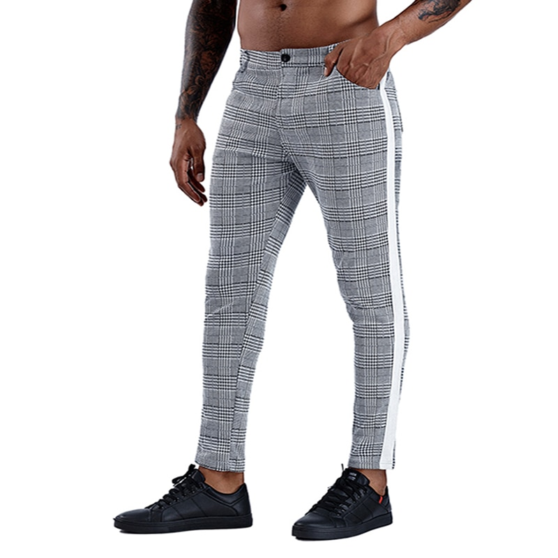 Брюки-чинос мужские повседневные, хлопковые облегающие штаны, узкие брюки-чинос, уличная одежда до щиколотки, в клетку, с полосками сбоку