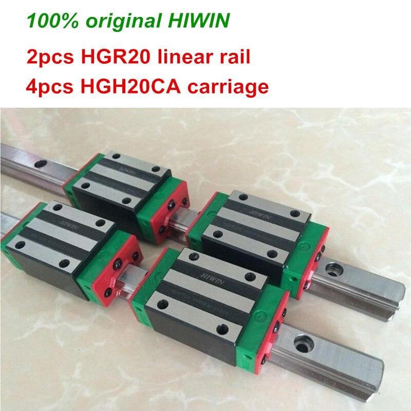100% الأصلي HIWIN 2 قطعة HGR20 200 مللي متر 300 مللي متر 400 مللي متر 500 مللي متر 600 مللي متر 700 مللي متر 800 مللي متر 1000 مللي متر دليل خطي السكك الحديدية + 4 قطع...