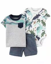 Pasgeboren Baby Boy Kleding 3 Pcs Sets Baby Jongens T-shirt + Bodysuit + Shorts Zomer Peuter Bebe Kids Cothing 3 stuks Past