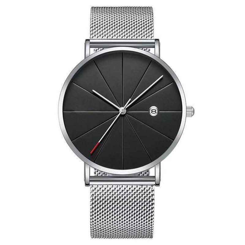 New Men Watches Luxury Stainless Steel Mesh Watchband Calendar Watch Business Quartz Relogio Masculino